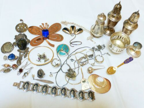 vintage sterling silver jewelry scrap lot, total of 501 grams