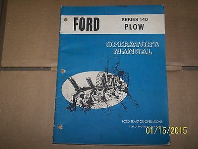 Ford 140 Plow Operators Manual