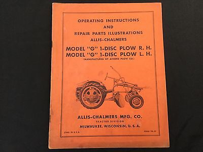 Allis Chalmers G 1 Disc Plow R.h.l.h. Operating Manual