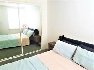 Fully furnished bedroom at St. Kilda Rd, Melbourne 3004.