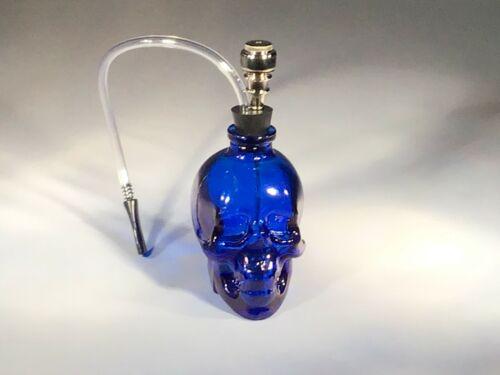 Glass Skull Water Bong Hookah Shape Bubbler Smoking  Pipes US Seller Blue