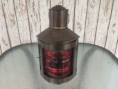"12"" Dark Antique Finish Port Lantern ~ Ship Oil Lamp ~ Nautical Boat Light"
