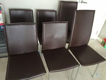 Set of 6 brown leather chairs in good condition Wallsend Newcastle Area Preview