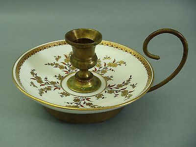 Antique Early Colonial Brass Porcelain Chamber stick Gold decorated