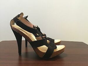 Italian made black velvet sandals, size 39