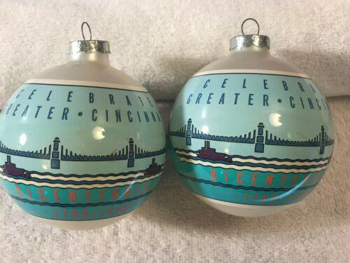 Christmas ornaments set of 2 glass Celebrate Cincinnati bicentennial MAX2454