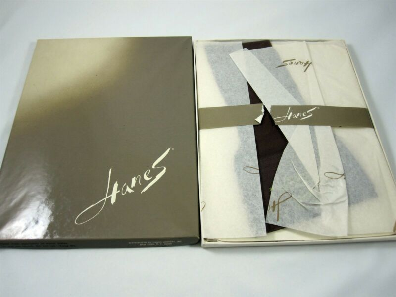Hanes 3 Pair Stockings in Box Vintage Hosiery 205 L-5 Long Town Taupe 9.5-10.5