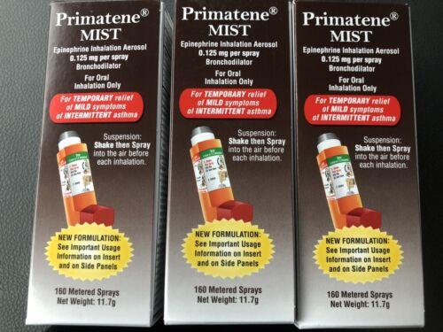 3 NIB Primatene Mist Epinephrine Inhalation Aerosol Bronchodilator 160 Sprays