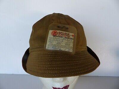 1950s Mens Hats | 50s Vintage Men's Hats antique hunter fly fishing hat 1950s w 1964 Illinois hunting license size 7 3/8 $20.00 AT vintagedancer.com
