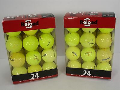 RELOAD 2 PACK OF 24 YELLOW VALUE BRANDS DISTANCE GRADE RECYCLED GOLF BALLS  Value Pack Recycled Golf Balls