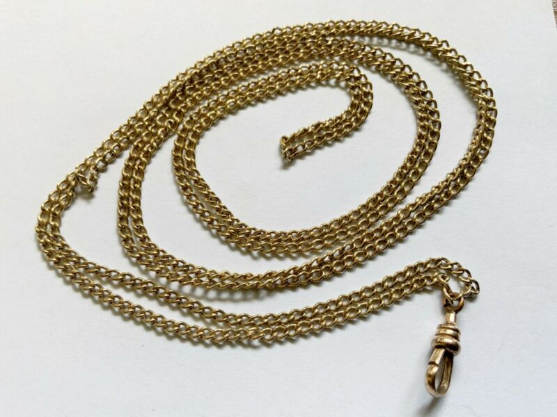 """Antique Gold Filled Chain w Dog Clip Swivel For Slide Watch Locket Pendant 45.5"""""""