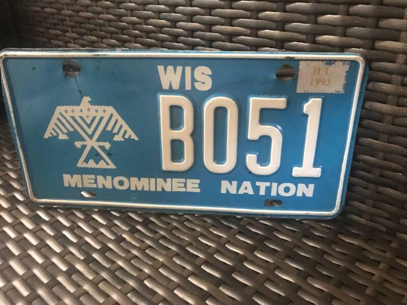 Wisconsin Menominee Nation License Plate Tag # E462