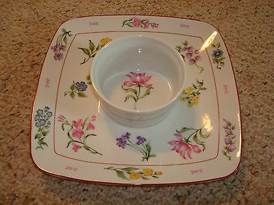 Georges Briard FLORAL FANTASY Chip & Dip Serving Platter Floral Chip