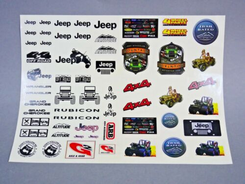 RC 1/10 Car Truck JEEP Wrangler Rubicon Cherokee DECALS STICKERS Sheet *NEW*