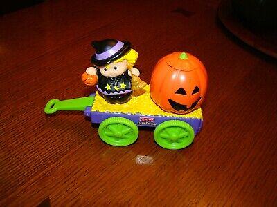 Fisher Price Little people Halloween pumpkin cat whcih wagon girl pop up car