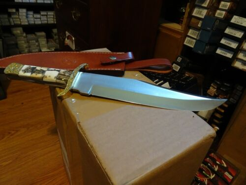 """WHITETAIL CUTLERY 15"""" O.A. BOWIE KNIFE DEER STAG HANDLE 440 GERMAN STAINLESS BLA"""