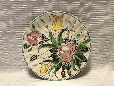 Blue Ridge-Southern Potteries-Hand Painted/Fluted Edge/ Floral-Dinner Plate
