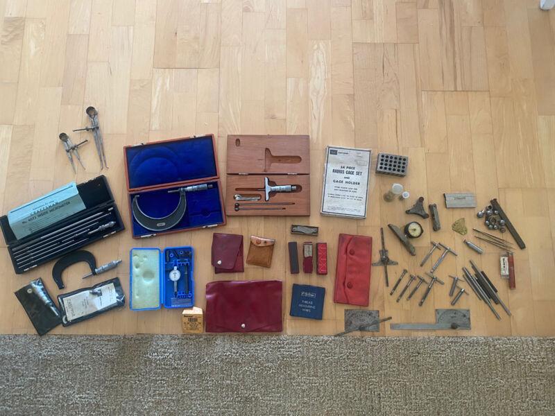 Massive Machinist Tools Lot - Starrett Craftsman Fowler Lufkin