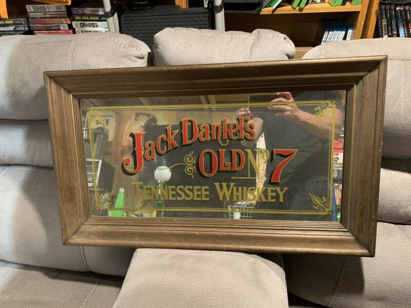 "Jack Daniels Old No 7 Vintage Mirror Sign . 30"" X 17"" Good Condition"