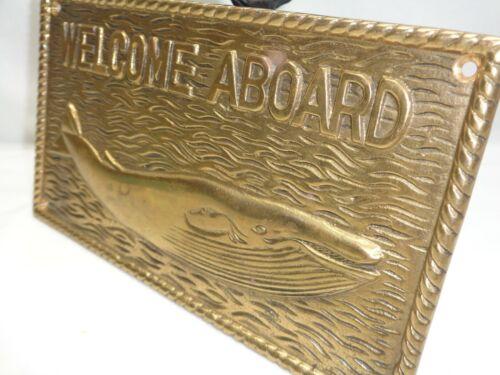 Vtg Sperm Whale Wall Mount Art Brass Plaque Nautical Maritime Decor Beach House