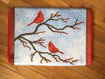 Cardinals Runner Mat - Red Cardinals On Branch Memory Foam Bath Rug Botanical Snowflake Berry Bath Mat