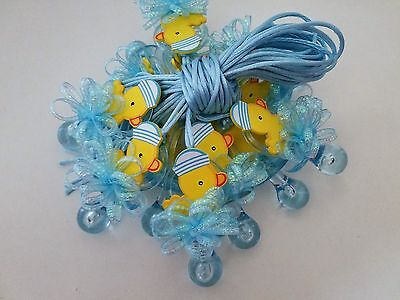 12 Duck Pacifier Necklaces Baby Shower Game Blue Favors Prizes Boy - Duck Baby Shower Decorations