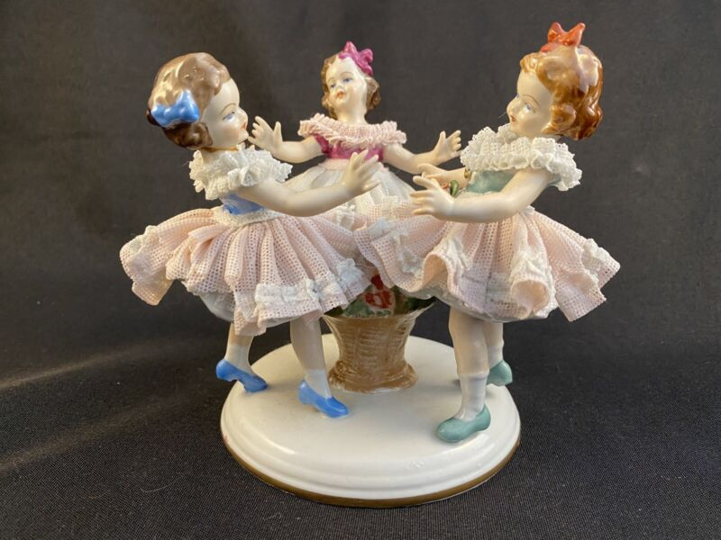 DRESDEN LACE THREE GIRLS DANCING RING AROUND THE ROSEY FIGURINE CROWN MARK
