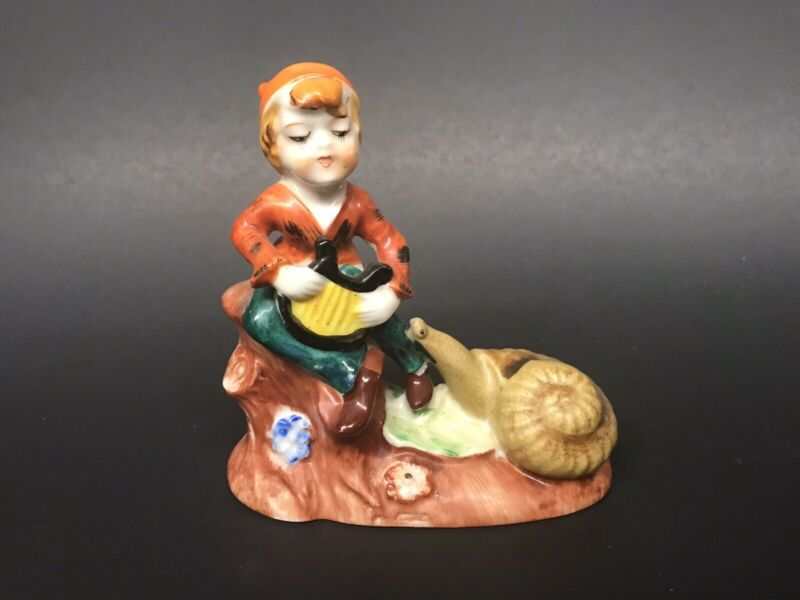 Vintage Elf Pixie Fairy Boy Playing Harp with Snail Japan Hand Painted Figurine