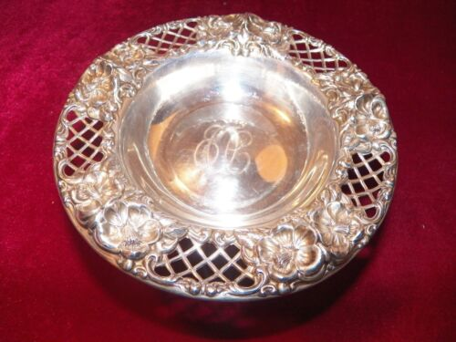 WHITING STERLING SILVER PIERCED AND ORNATE COMPOTE #7023 MONOGRAMED