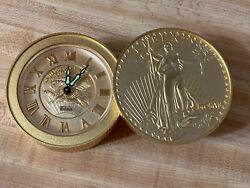 Vintage Bulova 1907 Walking Liberty Coin Desk Travel Wind Up Alarm Clock, Works