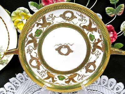 NIPPON gold gilt etched raised pattern green bands griffin birds serving plate