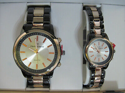 CHARLES RAYMOND HIS MEN'S AND HERS WOMAN'S MATCHING DESIGNER WRISTWATCH GIFT SET