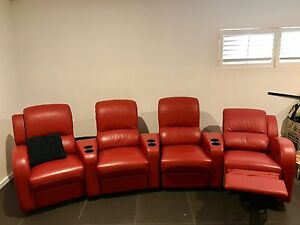 Red  leather cinema reclining chairs Bundall Gold Coast City Preview
