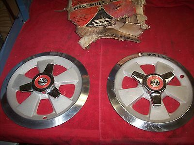 "Vintage 1960's NOS Sparkomatic Scorpion 14"" 5 Spoke Alum Spinner Wheel Covers PR"