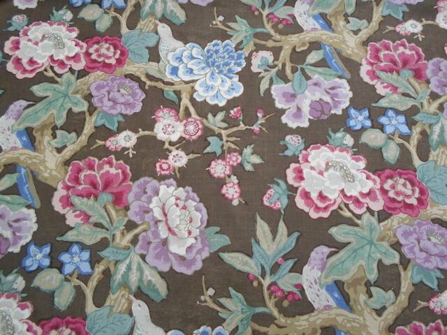Schumacher Curtain Fabric  'Bermuda Blossom' by Mary McDonald 4 METRES Cocoa