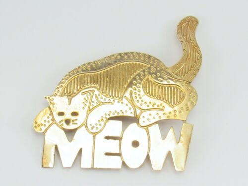 Gold Tone MEOW Kitty Cat Brooch Pin Marked AD 86