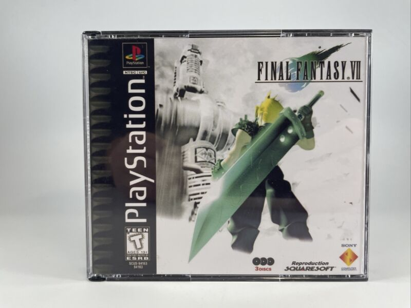 Final Fantasy VII (PlayStation 1-PS1) Repro Case/manual-Tested-Fast Free Ship