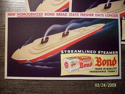 Vintage Advertizing Ink Blotter Steamlined Steamer Bond Bread