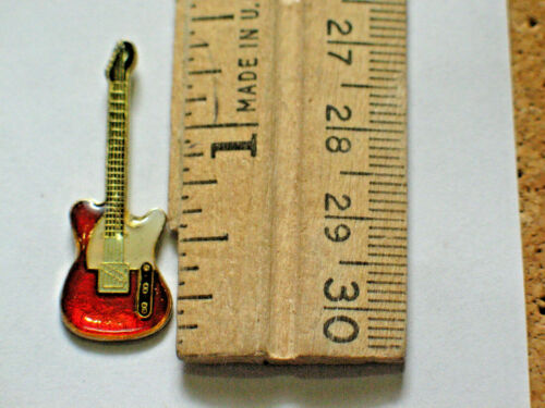 Red and Gold Guitar Pin  Nice Hard Ename lapel l Pin