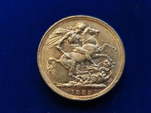 Australia Gold FULL Sovereign 1889-M Melbourne Mint Victoria
