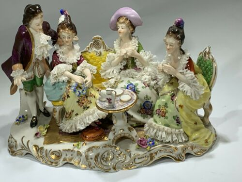 "19th Century  Dresden VOLKSTEDT Porcelain Figurine Group ""Afternoon Tea Time"""