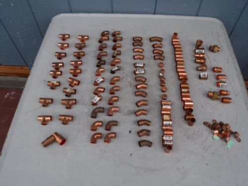 """Large Lot 110 1/2"""" Assorted Copper Pipe Fittings NEW"""