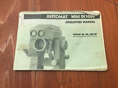 Wild Heerbrugg Distomat Di1000 Operators Manual Surveying