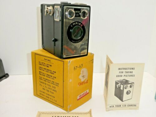 VINTAGE 1940s  EMPIRE 120 CAMERA WITH OWNERS MANUAL BOX  USES 120 FILM