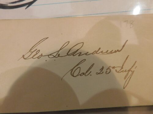 Civil War Gen George Andrews Calling Card Signed Col 25th Inf Colored Troops 81