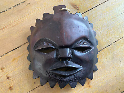 Vintage African Mauritius Carved Wooden Face Mask for display