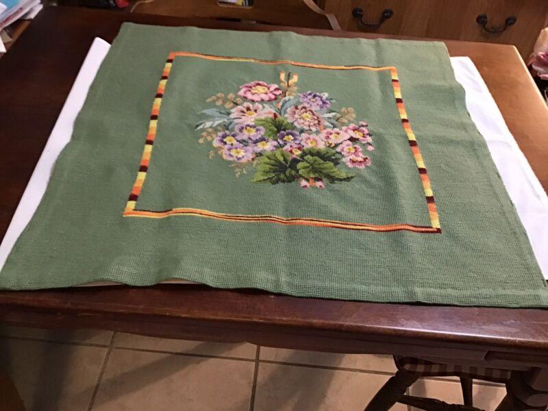 Needlept Vintage Finished Floral Violets Shabby Paris Apt. Green Backgr/Multi