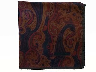 Zegna Pocket Square Muted brown & rust paisley, pure silk
