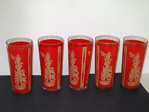 Glass-Tumblers-Red-Gold-Thai-Cambodia-Asian-5pc-Mid-Century-Manimekhala-VINTAGE