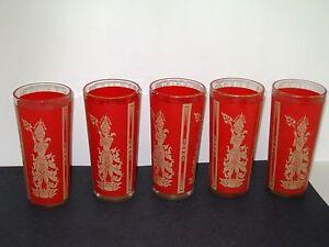 Glass-Tumblers-Red-Gold-Thai-Cambodia-Asian-5pc-Mid-Century-Manimekhala-VINTAGE